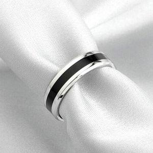 Titanium & Silver Onyx Ring Band